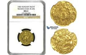 M29, Transylvania, Sigismund Bathori, Ducat 1586, Hermannstadt, Gold (3.48g) NGC MS61