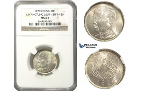 M35, China, Kwangtung, 20 Cents 1929, Silver, NGC MS63