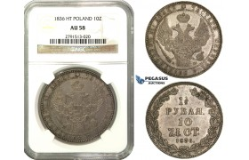M54, Poland (under Russia) Nicholas I, 1-1/2 Rouble/10 Zlotych 1836 НГ, St. Petersburg, Silver, NGC AU58