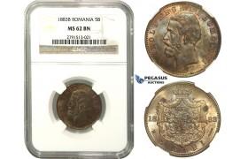 M55, Romania, Carol I, 5 Bani 1883, Bucharest, NGC MS62BN, Rare!