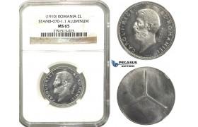 M57, Romania, Carol I, Pattern 2 Lei (1910) Brussels, Aluminum, NGC MS65