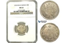 M61, Russia, Alexander II, 20 Kopeks 1876 СПБ-HI, St. Petersburg, Silver, NGC MS63
