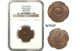 M62, Russia (Soviet Union) 2 Kopeks 1924 (Reeded Edge) NGC MS63BN