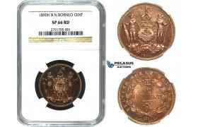 M65, British North Borneo, 1 Cent 1890-H, Heaton, NGC SP66RD (Rare so Fine)