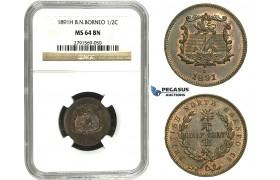 M67, British North Borneo, 1/2 Cent 1891-H, Heaton, NGC MS64BN