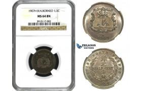 M68, British North Borneo, 1/2 Cent 1907-H, Heaton, NGC MS64BN, Rare Date!