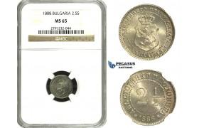 M69, Bulgaria, Ferdinand I, 2-1/2 Stotinki 1888, NGC MS65