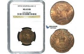 M73, Canada, Newfoundland, Victoria, 1 Cent 1872-H, Heaton, NGC MS65RB