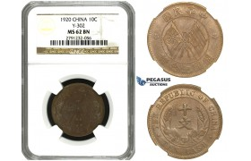 M74, China, 10 Cash 1920, NGC MS62BN Y-303