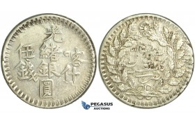 M83, China, Sinkiang, 5 Miscals AH1315, Silver (17.06g) Kashgar, Y19a, Nice