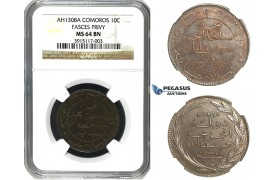 M86, Comoros, 10 Centimes AH1308-A, Paris, NGC MS64BN