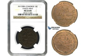 M87, Comoros, 5 Centimes AH1308-A, Paris, NGC MS65RB