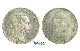 M88, Hungary, Franz Joseph, 1 Forint 1870-GYF, Gyulafehervar, Silver, Cleaned, Rare!