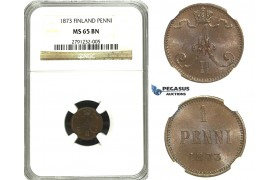 M92, Finland (under Russia) Alexander II, 1 Penni 1873, NGC MS65BN