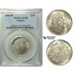 M93, France, Louis Philippe I, 2 Francs 1842-B, Rouen, Silver, PCGS AU58