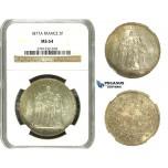 M96, France, 3rd Republic, 5 Francs 1877-A, Paris, Silver, NGC MS64 Fine toning!