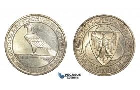 "N01, Germany, Weimar, ""Rhineland Liberation"" 5 Reichsmark 1930-A, Berlin, Toned UNC"