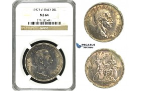 N08, Italy, V. Emanuele III, 20 Lire 1927-R (VI) Rome, Silver, NGC MS64