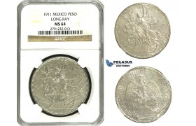 N10, Mexico, Caballito Peso 1911 (Long Ray) Silver, NGC MS64