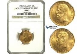 N14, Romania, Carol I, 20 Lei 1906, Brussels, Gold, NGC MS63