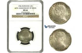 N15, Romania, Carol I, 1 Leu 1906, Brussels, Silver, NGC MS66 (Pop 1/3)