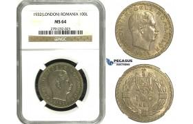 N16, Romania, Carol II, 100 Lei 1932, London, Silver, NGC MS64