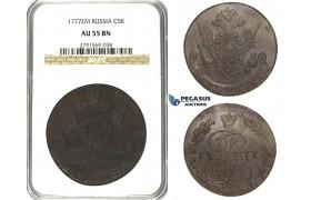 N17, Russia, Catherine II, 5 Kopeks 1777-EM, Ekaterinburg, NGC AU55BN