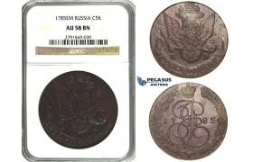 N18, Russia, Catherine II, 5 Kopeks 1785-EM, Ekaterinburg, NGC AU58BN