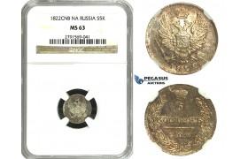 N19, Russia, Alexander I, 5 Kopeks 1822 СПБ-ПД, St. Petersburg, Silver, NGC MS63