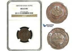 N26, Russia, Alexander III, 1 Kopek 1889 СПБ, St. Petersburg, NGC MS63BN