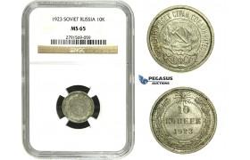 N29, Russia (Soviet Union) 10 Kopeks 1923, Silver, Leningrad, NGC MS65