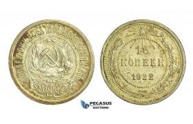 N48, Russia (Soviet Union) 15 Kopeks 1922, Leningrad, Silver, Toned High Grade!