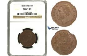 N62, Serbia, M. Obrenovic III, 5 Para 1868 (Medal Rotation) NGC MS65BN