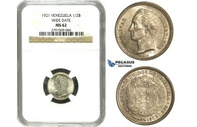 N69, Venezuela, 1/2 Bolivar 1921 Wide Date, Silver, NGC MS62, Rare!