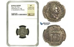 N70, Roman Empire, Titus (79-81 AD) AR Denarius (3.12g) Struck 80 AD, Rome, Thunderbolt, NGC XF 5/5, 4/5