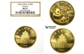 N72, China, 100 Yuan 1984 (Gold Panda) 1 Oz. (.999 Fine gold) NGC MS67 (Removed from slab)