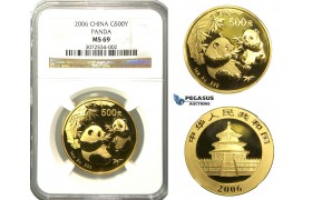 N74, China, 500 Yuan 2006 (Gold Panda) 1 Oz. (.999 Fine gold) NGC MS69