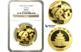 N76, China, 500 Yuan 2008 (Gold Panda) 1 Oz. (.999 Fine gold) NGC MS69