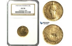 N79, San Marino, 20 Lire 1925-R, Rome, Gold, NGC AU58, Rare!