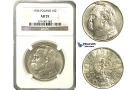R175, Poland, 10 Zlotych 1936, Silver, NGC AU55