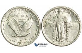 "N93, United States, Standing Liberty Quarter (25C) 1918 Silver, ""White"""