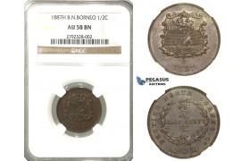 O01, British North Borneo, 1/2 Cent 1887-H, Heaton, NGC AU58BN