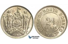 O011, British North Borneo, 2 1/2 Cents 1903-H, Heaton, TOP Grade!