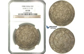 O02, China, 7 Mace 2 Candareens (Dollar) ND (1908) Tientsin, Silver, L&M 11, NGC AU50, Fine toning! Rare!