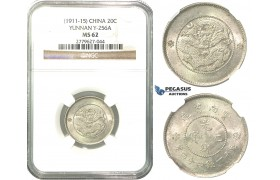 O03, China, Yunnan, 1 Mace 4.4 Candareens (20 Cents) ND (1911-15) Silver, L&M 423, NGC MS62, Rare!