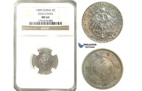 O04, China, Kiau Chau, 5 Cents 1909, NGC MS62