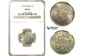O07, Cyprus, George VI, Shilling 1949, NGC MS64