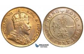 O101, Hong Kong, Edward VII, Cent 1905-H, Heaton, High Grade!