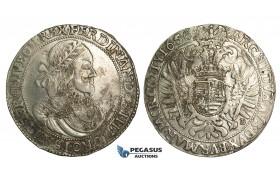 O14, Hungary, Ferdinand III, Taler 1656 K-B, Kremnitz, Silver (28.62g)