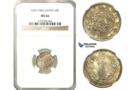 O16, Japan, Meiji, 10 Sen Year 29 (1896) Silver, NGC MS66 (Pop 1/1, Finest)